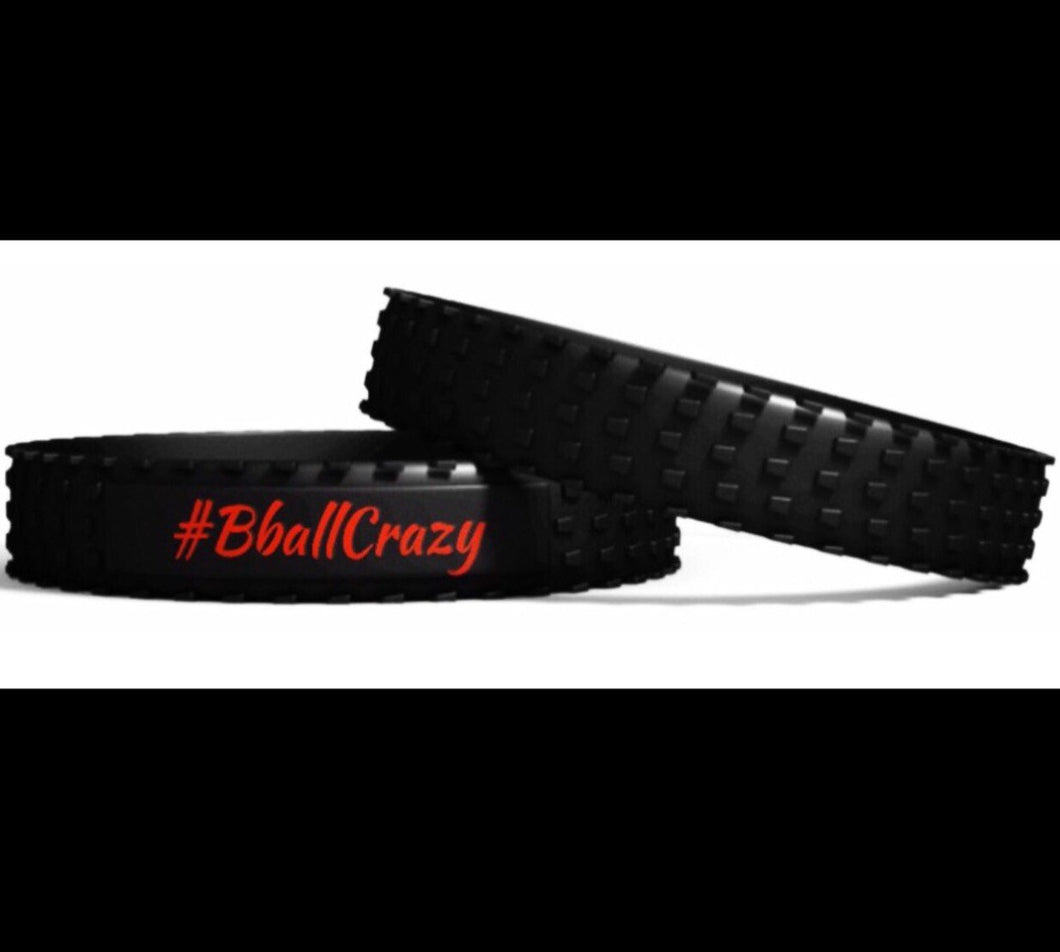 #BballCrazy band Black with red in-lay