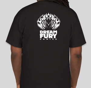 Back of t-shirt design featuring the Dream Fury Comics logo.