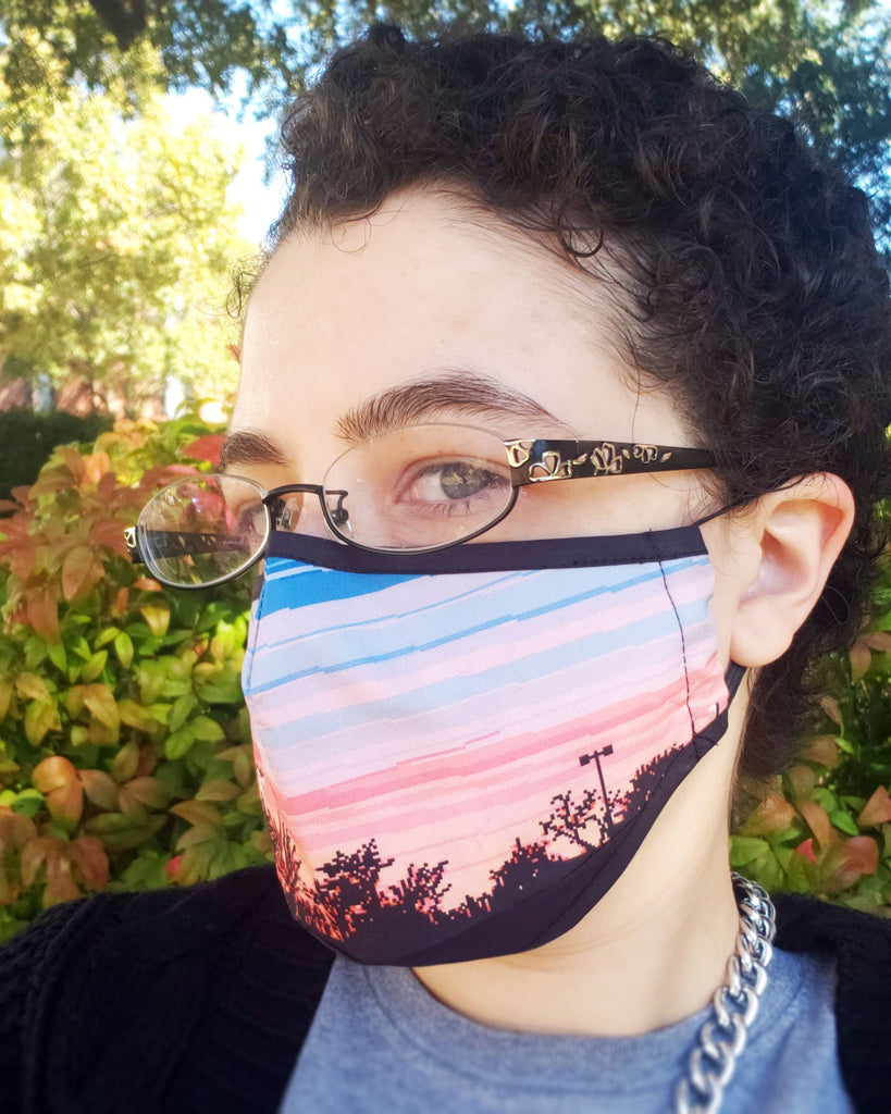 Pixel Sunset Sky Face Mask - Cotton Face Mask With Filter Pocket and 2 Inserts