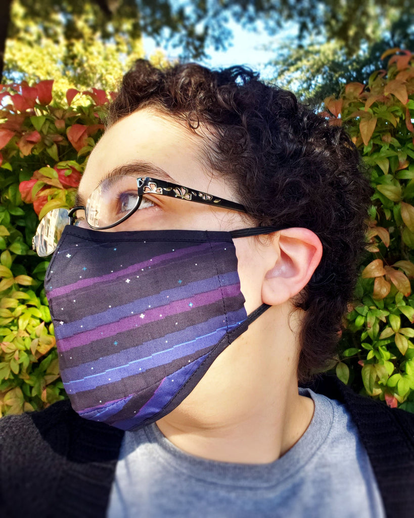 Pixel Night Sky Face Mask - Cotton Face Mask With Filter Pocket and 2 Inserts