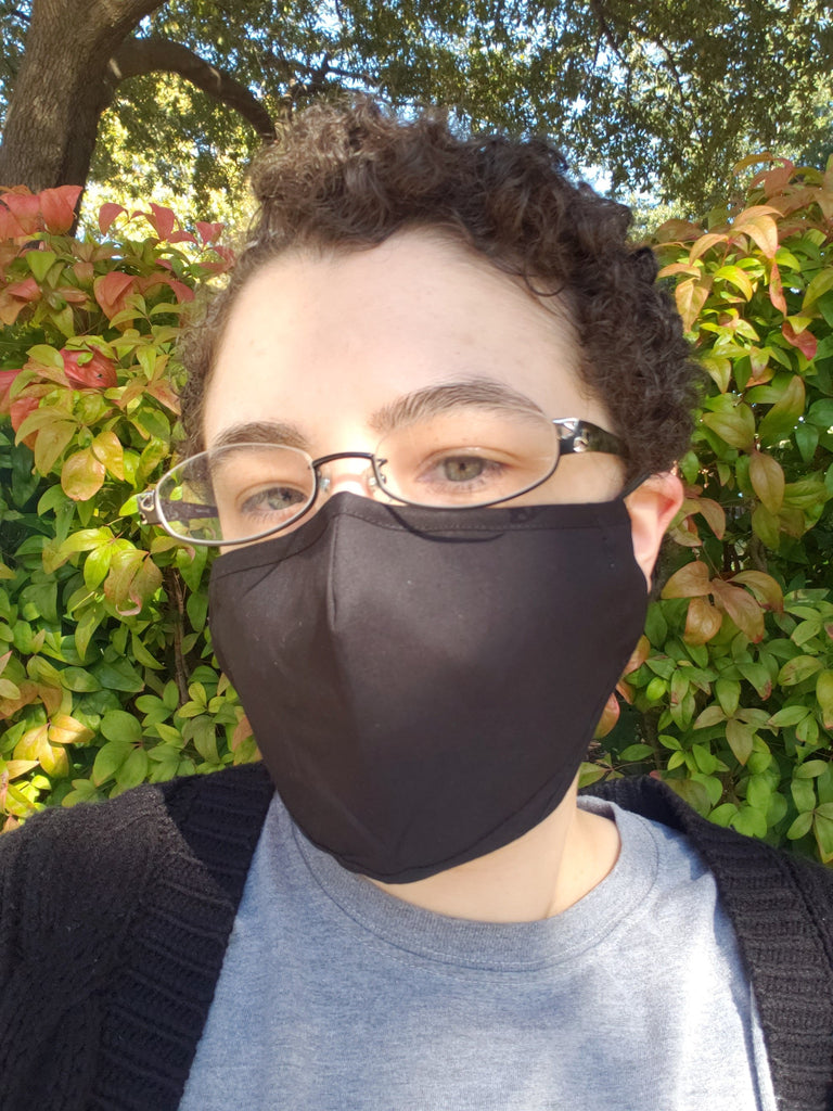 Black Face Mask - Cotton Face Mask With Filter Pocket and 2 Inserts