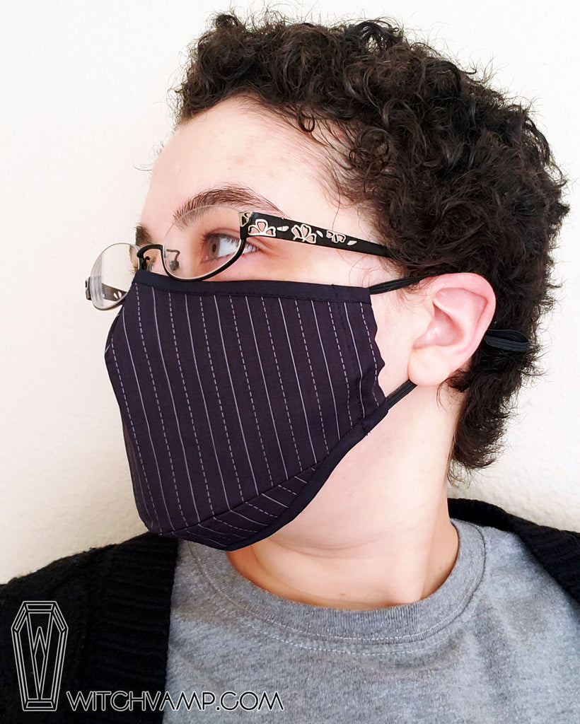 Business Goth Mask Set: Pinstripe, Gray, and Black