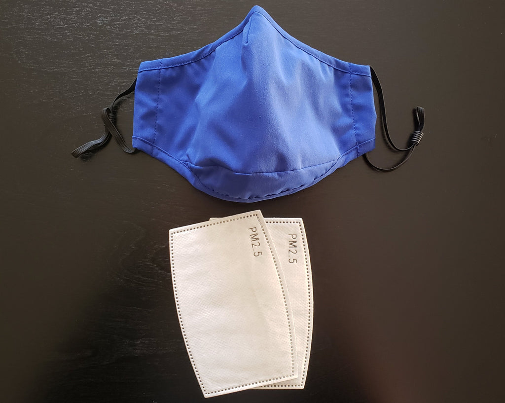 Royal Blue Face Mask - Cotton Face Mask With Filter Pocket and 2 Inserts