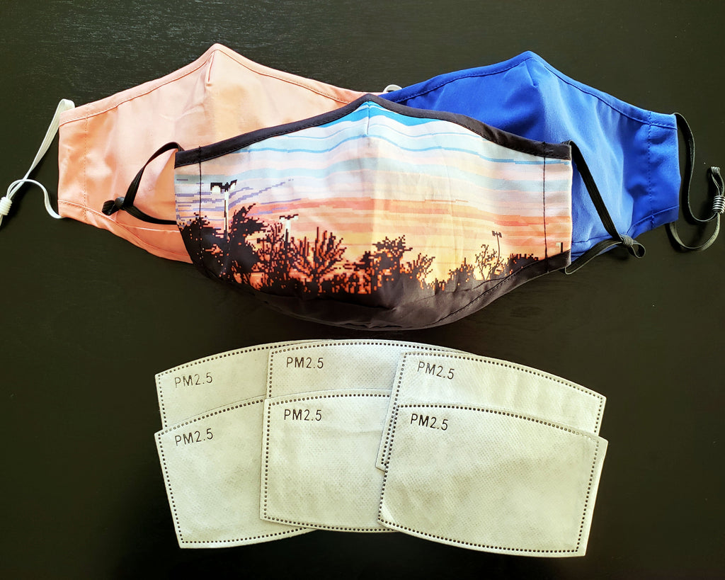 Sunset Mask Set : Pixel Sunset Sky, Blue, Light Pink
