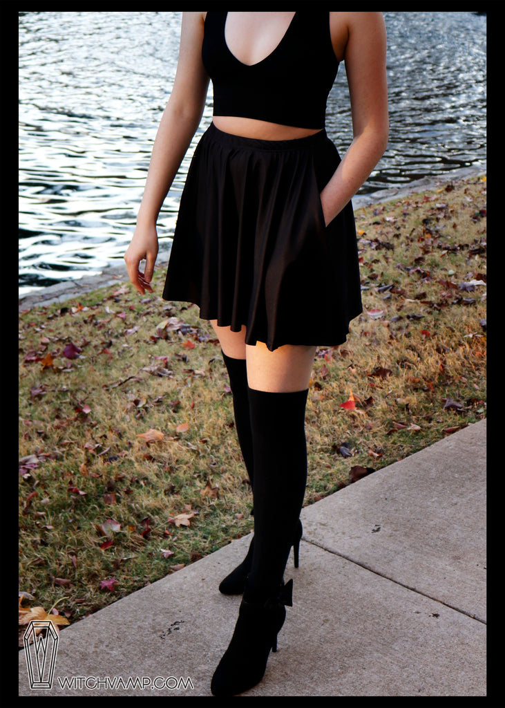 Little Black Skirt - Skater Skirt with Pockets