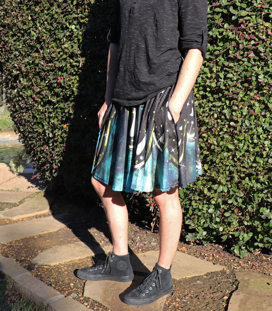 Dark Galaxy Skirt With Pockets