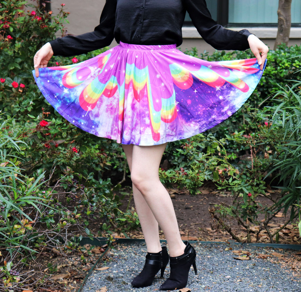 Rainbow Galaxy Skirt With Pockets