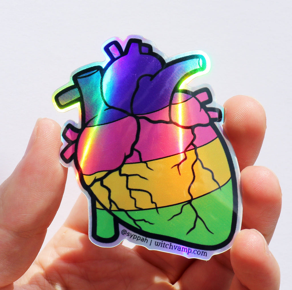 Sappho Pride Heart Holographic Sticker