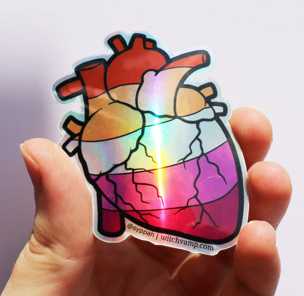 Lesbian Pride Heart Holographic Sticker