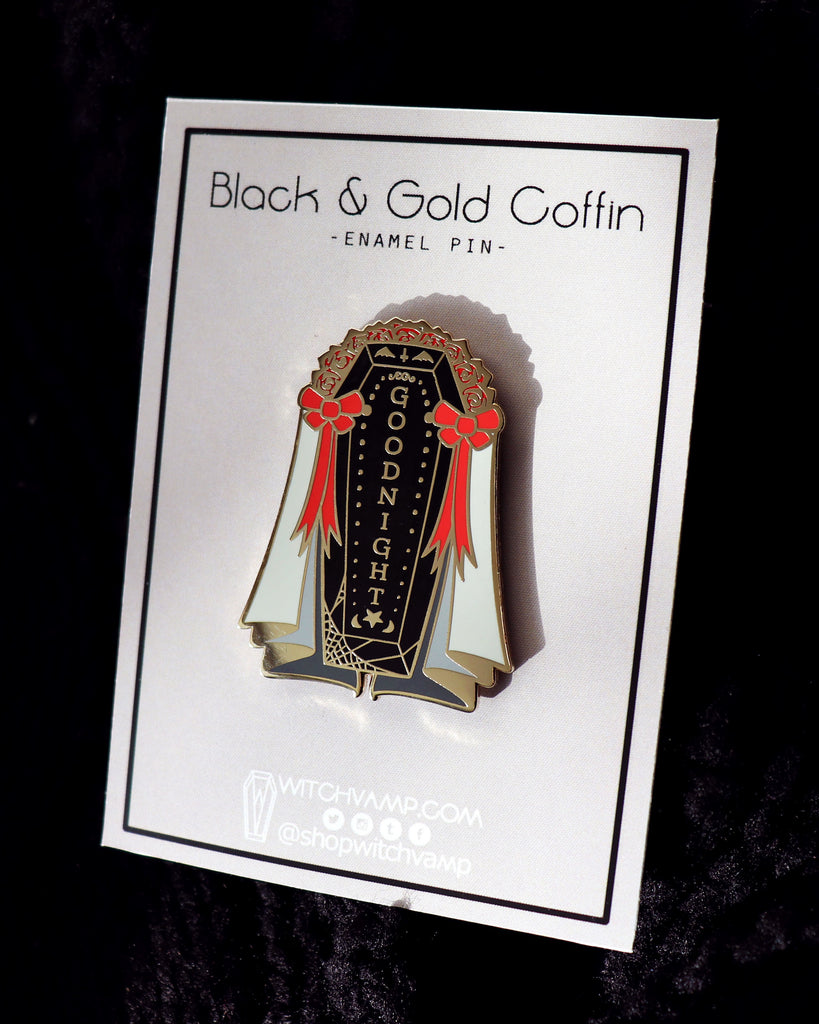 Black & Gold Coffin Enamel Pin