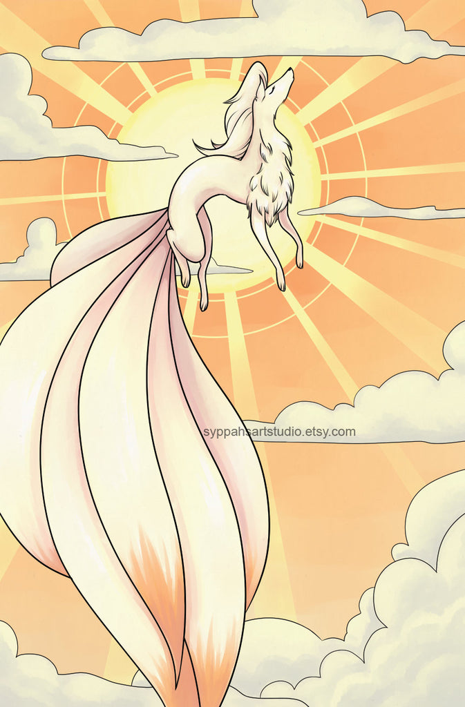 Holographic Sun and Moon Print Set - Ninetales Print Duo - Two 11x17 Prints