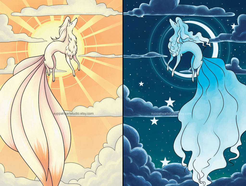 Sun and Moon Print Set - Ninetales Print Duo - Two 11x17 Prints