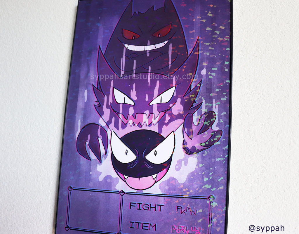 Holographic Glitch Ghosts - Gastly Evolution Line - 11x17 Print