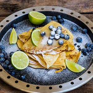 Blueberry Crepe With Lime and Sugar