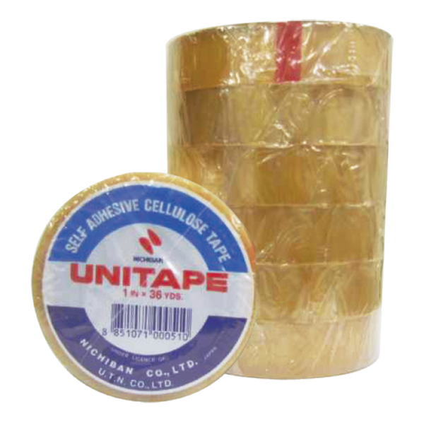 Unitape CLEAR TAPE 1 Inch 36 Y 6 roll x1 pack