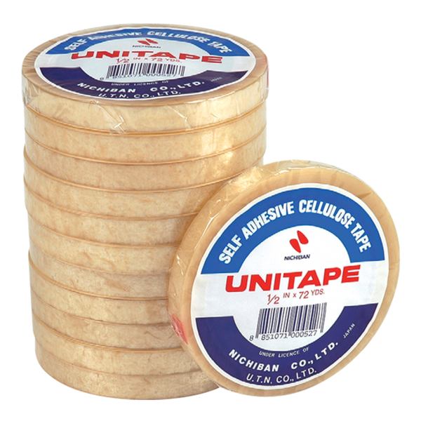 Unitape CLEAR TAPE 1/2 Inch 72Y 12 roll x1 pack