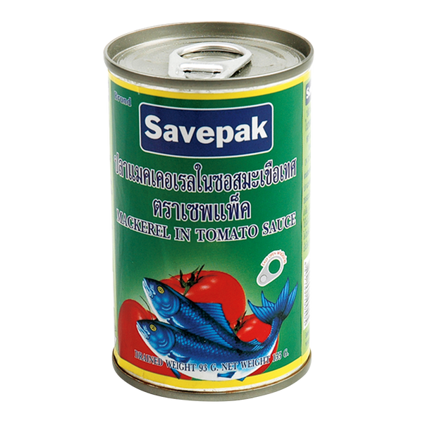 Savepak Mackerel In Tomato Sauce (EOE can) 155 g. pack. 10 can