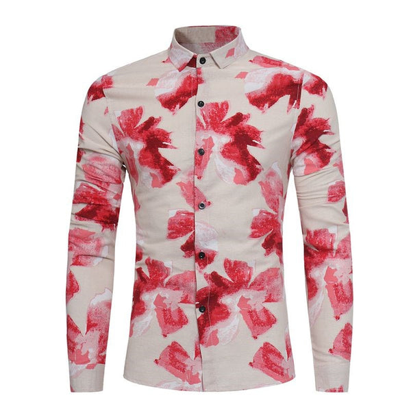 35e16b486bf Autumn Spring Men Fashion Floral Long Sleeve Shirt Plus Size Casual Slim Fit  Multi Colors Mens