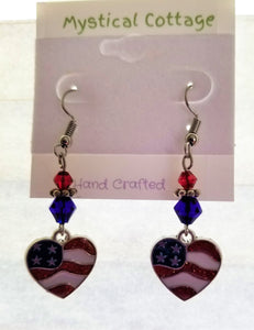 HEART FLAG DANGLE EARRINGS