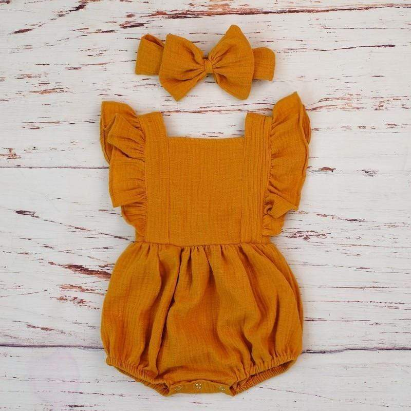Stella Ruffled Romper + Bow Set
