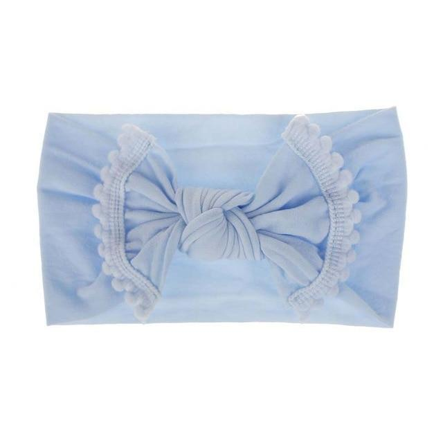 Mini Pom Solid Knot Bow Headband