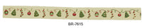"25 Yards of 1/2"" Wide Xmas Ornament and Stocking Cotton Ribbon - BR-7615"