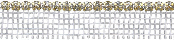 1/8-inch Pointed Back Rhinestone with Netted Edge - Gold Backing - BY THE YARD