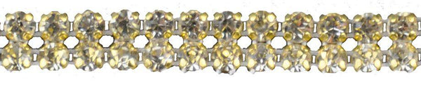 3/8-inch Pointed Back Rhinestone Trim - 2 Row Gold Backing - BY THE YARD