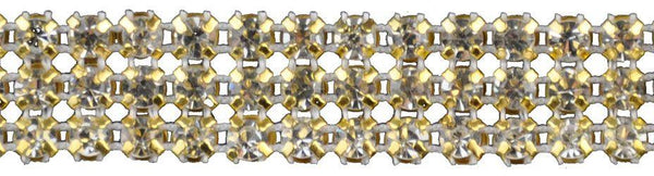 5/8-inch Pointed Back Rhinestone Trim - 3 Row Gold Backing - BY THE YARD