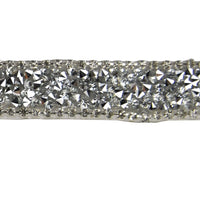 Iron-on Rhinestone Banding - Pewter - 1/2th Inch Height - For fashion, decors and embellishments