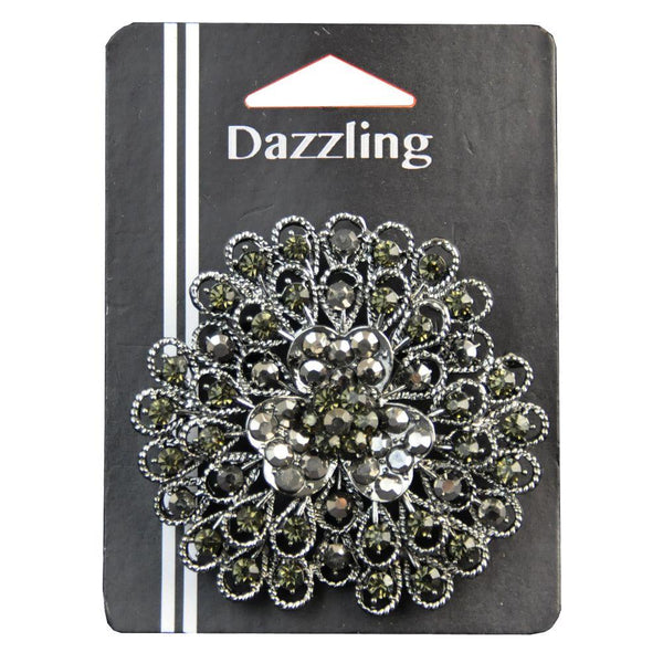 2-1/2-inch Rhinestone Brooches 1 Piece, Antique Silver
