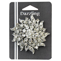 2-1/2-inch Floral Rhinestone Brooch 1 Piece, Silver/Crystal - 9 Point