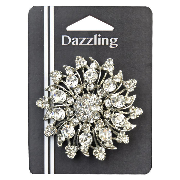 2-inch Floral Rhinestone Brooch 1 PIece, Silver/Crystal - 10 Point
