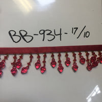 "Beaded Fringe-2"" length- Wine - BB-934-17/10 - BY THE YARD"