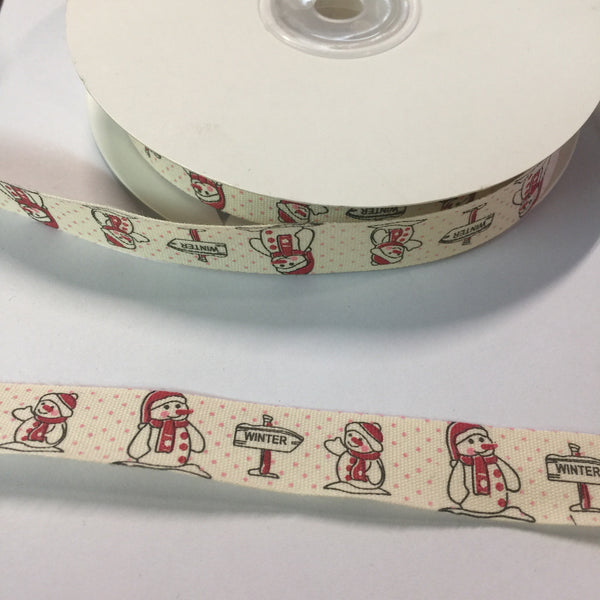 "25 Yards of 1/2"" Wide Winter Snowman Christmas Cotton Ribbon - BR-7623"