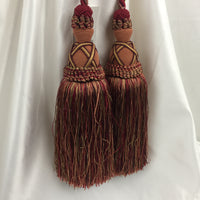 "Double Tie-Back 10"" Tassel 15"" Cord 100% Polyester - Crimson Gold BT-622-17/09 - 1 PC"