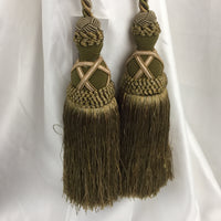 "Double Tie-Back 10"" Tassel 15"" Cord 100% Polyester - Olive BT-622-36/81 - 1 PC"