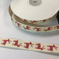 "25 Yards of 1/2"" Wide Xmas Reindeer Cotton Ribbon - BR-7614"