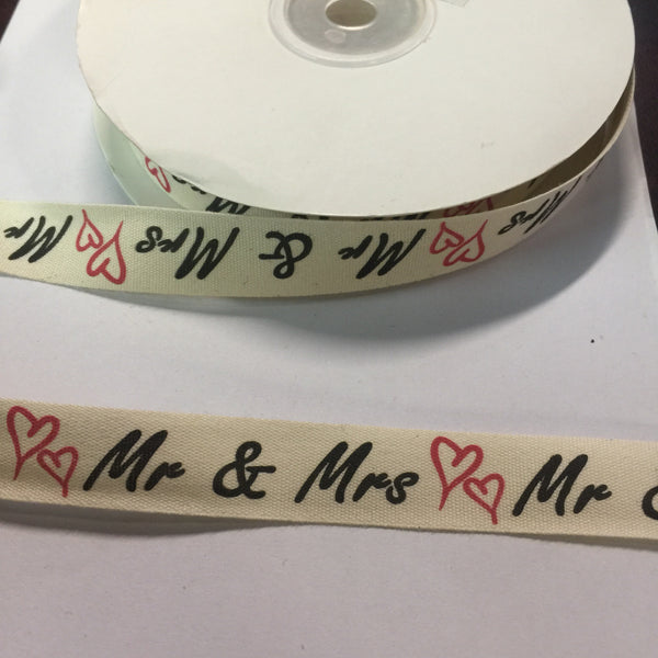 "25 Yards of 1/2"" Wide Mr & Mrs Event Cotton Ribbon - BR-7631"