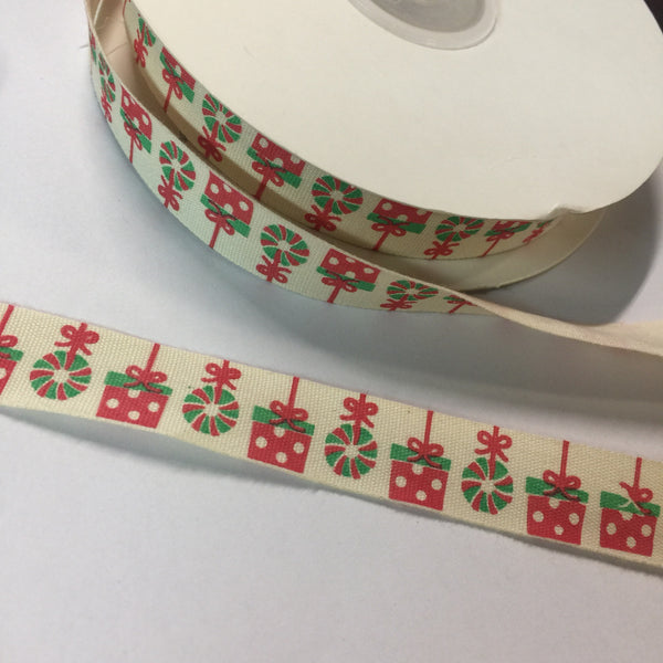 "25 Yards of 1/2"" Wide Christmas Present Cotton Ribbon - BR-7612"
