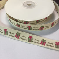 "25 Yards of 1/2"" Wide Christmas Present Cotton Ribbon - BR-7613"
