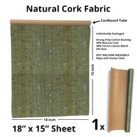 "(1 roll) Cork Fabric Sheet 18""x 15"" Poly-Cotton Backing - Red, Green, Zebra Print"