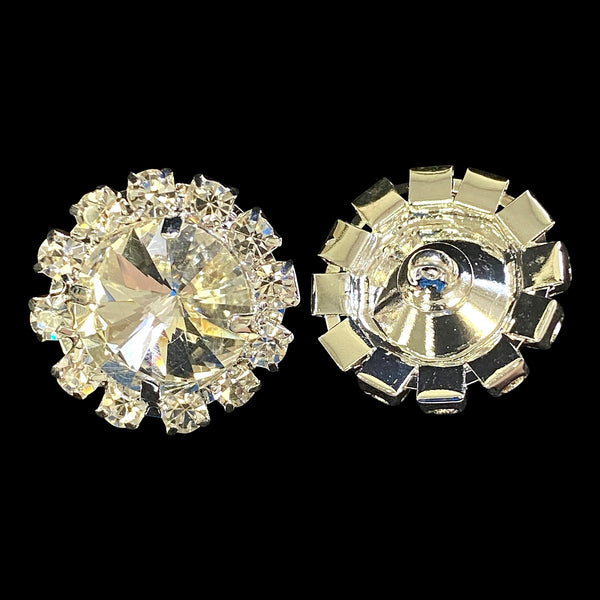 Flower Rhinestone Button 7/8 Inch - Silver