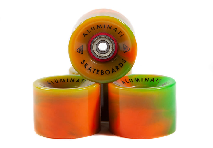 ORANGE / GREEN SWIRL ALUMINATI SKATEBOARD WHEELS