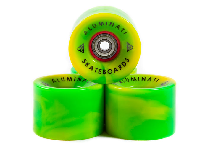 Green / Yellow Swirl Aluminati Skateboard Wheels