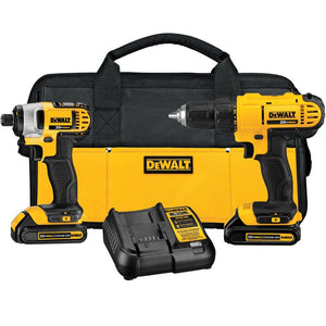 Dewalt 20-Volt MAX Lithium-Ion Cordless Drill/Driver and Impact Combo Kit with (2) Batteries 1.3Ah, Charger and Bag