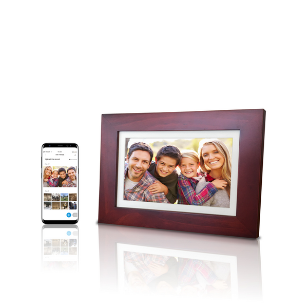 "8"" WiFi Cloud Photo Frame, Ultra HD IPS Display, 6G Cloud Storage, APP Control, Turn On/Off Automatically, Cherry Wooden Frame, SD card/ USB reader, Best Christmas gift idea"