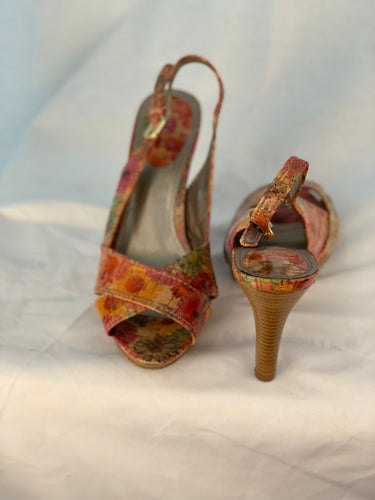 MULTI COLOR SLINGBACKS SIZE 7 1/2 - 8