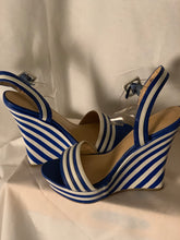 Load image into Gallery viewer, BLUE STRIPE WEDGES SIZE 8 1/2
