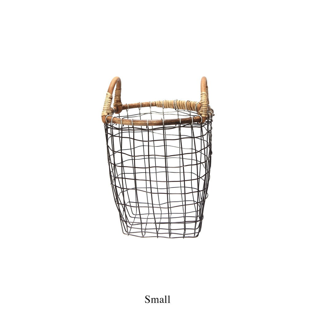 RATTAN TOP WIRE BASKET